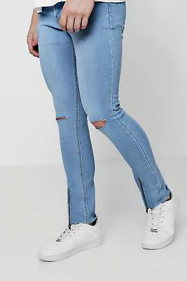 62080cb8a36c BOOHOO MENS PALE Blue Skinny Fit Ripped Knee Jeans 30L - $22.43 ...