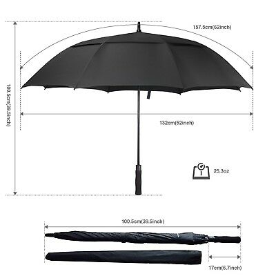 Golf Umbrella Windproof Large 62 Inch, Double Canopy Vented, Automatic Open, Ext