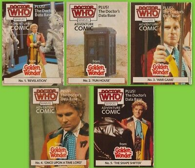 RARE: 5 VGC Golden Wonder Doctor Who comics, 1986. Fab! % to charity do!