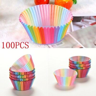 100PCS Disposable Colorful Rainbow Paper Cupcake Cases Muffin Baking Cake Cup