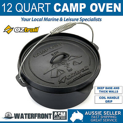 OZtrail 12 Quart Cast Iron Camp Oven Outdoor Camping Cooking Cookware Pan Pot