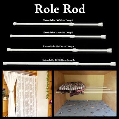 New Spring Loaded Extendable Telescopic Net Voile Tension Curtain Rail Pole Rod