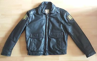 orig. TAYLOR'S Police Cop Leather Jacket Arkansas State Police USA State Patrol