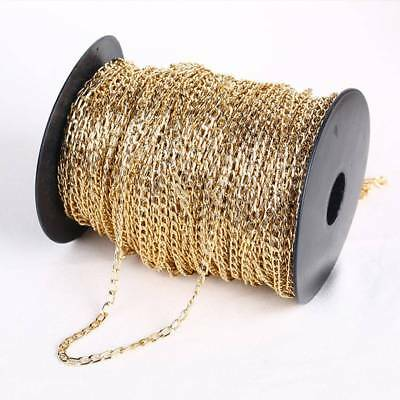 Wholesale 2M/50M Plated Cable Open Link Iron Metal Chain Jewelry Findings