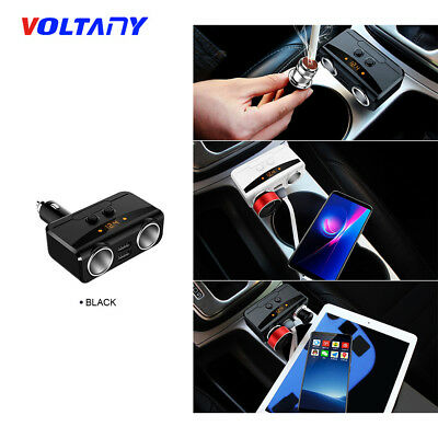 2 in1 Car Cigarette Lighter Socket Splitter 12-24V Dual USB Port Charger Adapter