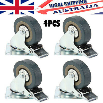 "4PCS 2"" Heavy Duty 50mm Swivel Castor Wheels Trolley Furniture Caster All Brake"