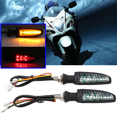 2x Dual Color Amber Red Motorcycle Flowing Water Turn Signal Brake Light