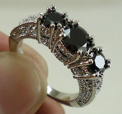 Charming Women Silver Plated Black Sapphire Three Stone Ring Engagement Wedding