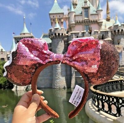 Disney Parks Mickey Minnie Mouse Ice Cream Bar Sequin Ears Headband w/ Pink Bow