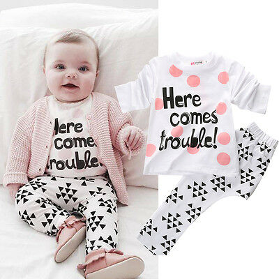 2PCS Newborn Toddler Baby Boys Girls T Shirt Tops+Pants Set Kids Clothes Outfits