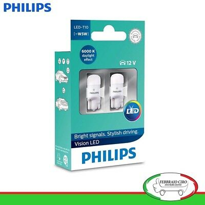 PHILIPS LED T10 [~ W5W] 12 V 6000K effetto Daylight Luce Interno - 11961ULWX2