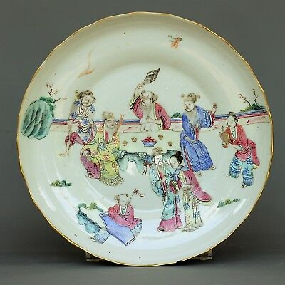 "A large chinese ""eigth immortals"" famille rose plate  - Tongzhi M&P- 1862 / 1873"