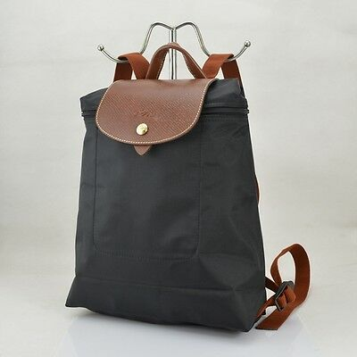 57cad9ccffa0 Auth Longchamp BLACK Le Pliage Nylon Backpack with Adjustable Straps  LeatherTrim