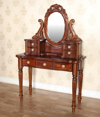 Solid Mahogany Victorian Dressing Table and Mirror DST002