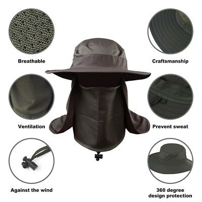 2573de0164a US 360° Neck Cover Ear Flap Outdoor UV Sun Protect Fishing Cap Hiking Hat  Sports