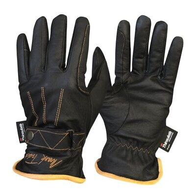 Mark Todd Winter Thermal Warm Leather Gloves With Thinsulate Black/Brown XS - XL