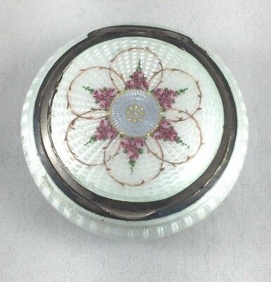Beautiful 935 Sterling & Enamel Guilloche Floral Round d Hinged Box-As Is