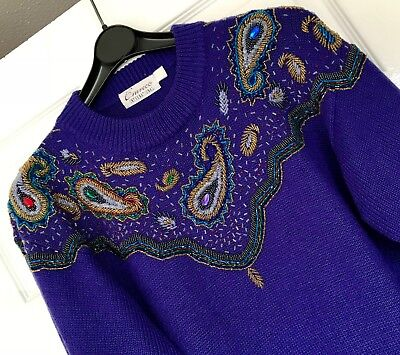Stunning vintage acrylic/ wool  hand beaded/ embroidered sparkly jumper size M