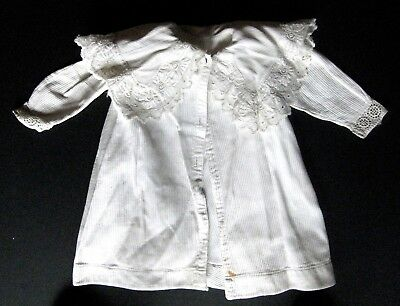 Vtg Antique Child Baby Doll White Cotton Coat Embroidered Lace Collar