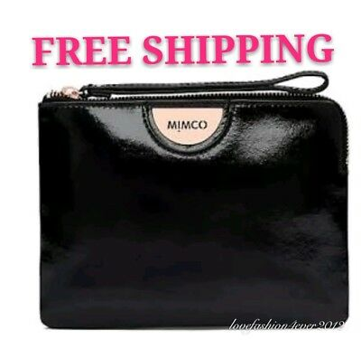 Free Post Mimco Echo Black Medium Pouch Rose Gold Wallet Patent Leather Rrp99.95