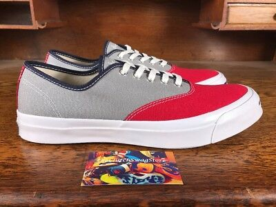 6904f2b1b073 Converse Jack Purcell Signature Ox Low Top Red Grey White Mens Shoes Size 10
