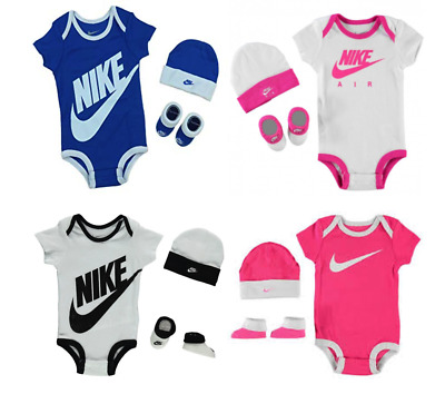 Nike 3 Piece Baby Clothes Set Bodysuit Beanie Booties Boy Girl 0-6 Months
