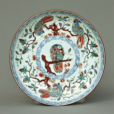 "A large chinese dutch decorated "" parrots"" plate -  Kangxi period - 18 th C"