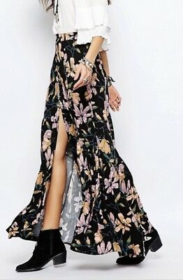 6ef7178755 FREE PEOPLE SMOOTH Sailing Button Black Floral Maxi Skirt 2 - $45.00 ...