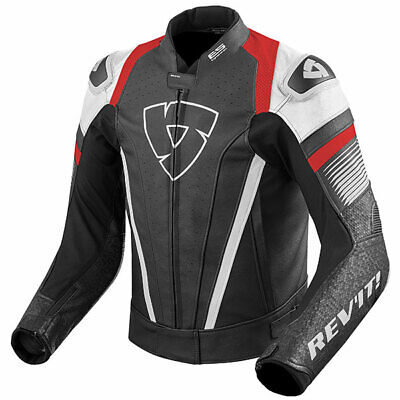 Rev'it Motorbike Motorcycle Leather Spitfire Jacket - White / Red