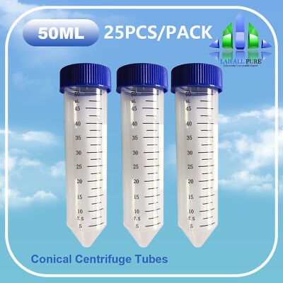 25x 50ml Sterile PP Conical Centrifuge Tube Test Container flat inner Leak-proof