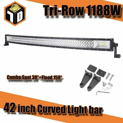 Tri Row Curved LED Work Light Bar Flood Spot Combo Beam 1188W Off Road Jeep SUV