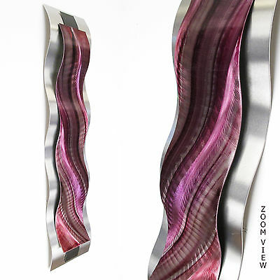 Modern Abstract Metal Wall Sculpture Art Pink Red Tropical Painting Home Decor