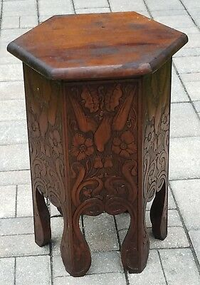 Antique Arts Crafts Taboret Plant Stand Table Carved Oak Folk Art Vintage