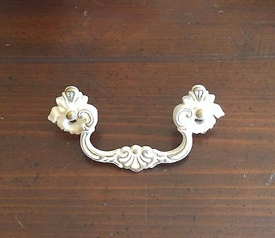 "Vintage Continental Brass French Provincial Drawer Pull 3 3/4"" Bore White Gold"