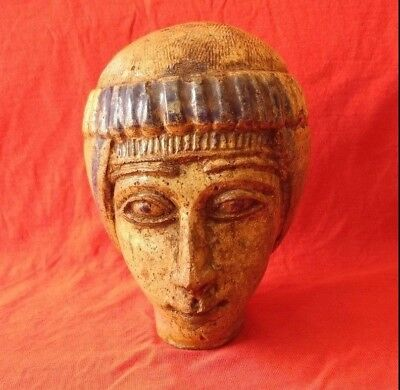 Ancient Egyptian head of a man Ptolemaic Period Sculpture antiques