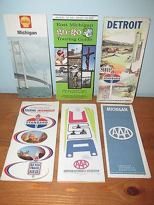 Lot of 6 Gas & Oil Co. Road Maps Michigan Vacation Guide ((A))