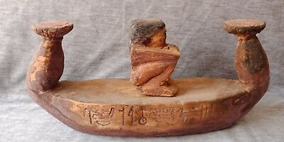 Ancient Egyptian Painted Wooden Funeral Barge - Boat Egypt antiques carved wood