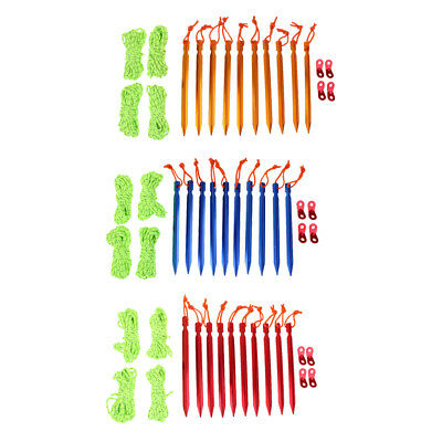 10pcs Camping Tent Pegs & 4mm Reflective Guy Lines Cord Tensioners Outdoors