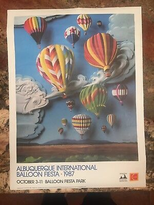"1987 KODAK ALBUQUERQUE INTERNATIONAL BALLOON FIESTA POSTER 18"" x 24"""