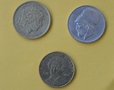Vintage greek coins set of 3--> 20,50,100, drachma,alexander the great,pericles