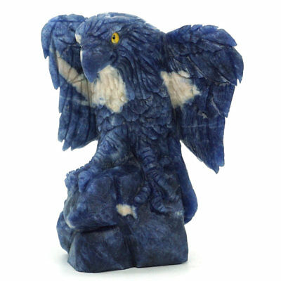 Eagle Figurine Natural Gemstone Blue Sodalite Carved Crystal Healing Home Decor