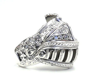 Medieval Knight Custom Helmet 14 K White Gold Ring With White Diamonds