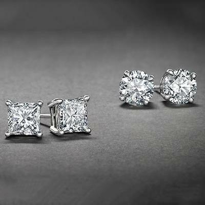 Surgical 316L Stainless Steel Stud Earrings Cubic Zircon Round Men Women 2 Pairs