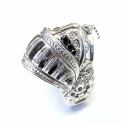 Medieval Knight Custom Helmet 14 K White Gold Ring With Black Diamonds