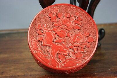 19th/20th C. Chinese Cinnabar Lacquer Box And Cover