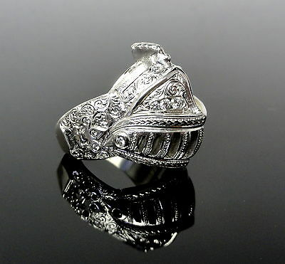 14 K White Gold Medieval Knight Custom Helmet Ring With White Diamonds