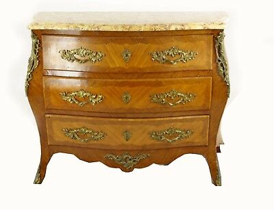 Marble Top Dresser, Louis XV Style, Bombe Commode, France 1930, B1142 REDUCED!!!