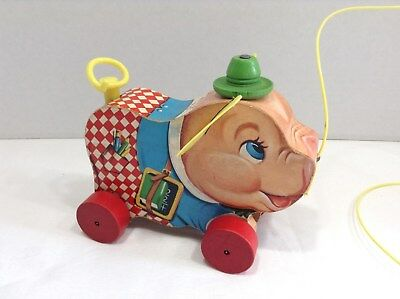 Rare Mint 1959  Vintage Fisher Price Wooden Peter Pig Pull Toy