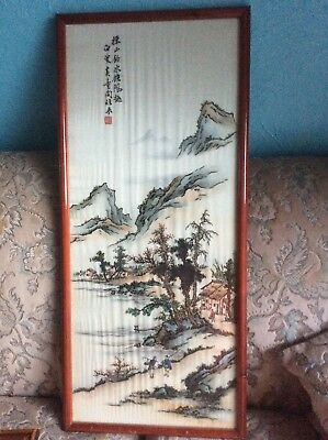 Antique Oriental Chinese Painting On Silk Hand Painted Mountain Scene 84cm X 37