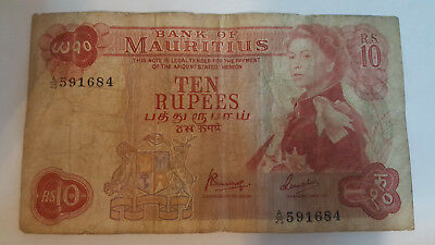 Mauritius Rs 10 note - 1967 Pick 31 c